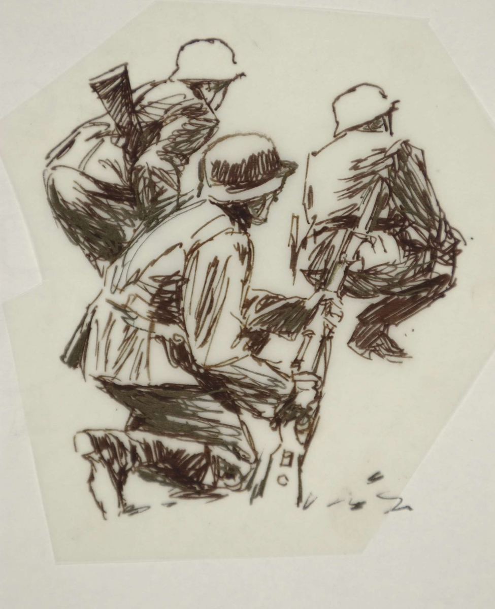 Tyske soldater under felttoget 1940. Skisse. Kampene i Norge 1940.