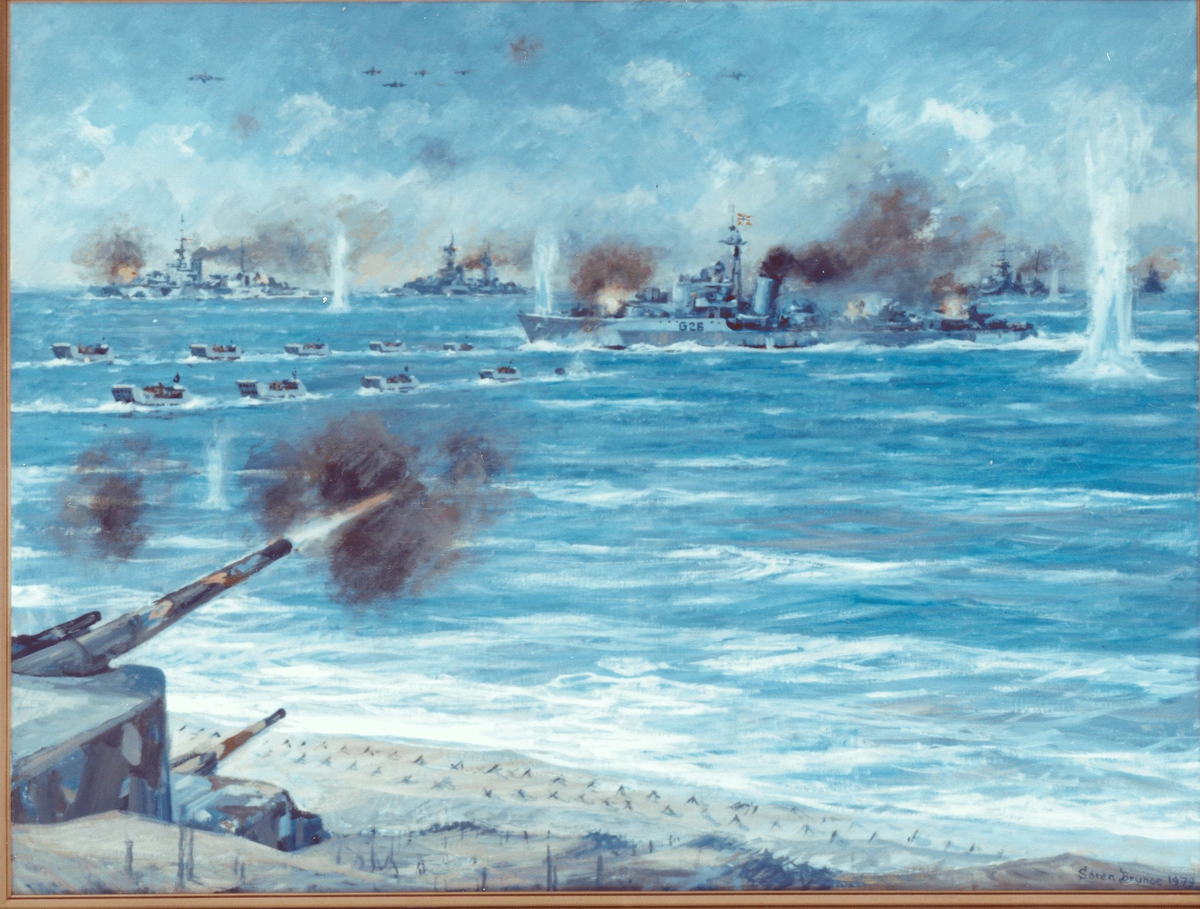 Motiv: Maleri av invasjonen i Normandie og jageren STORD