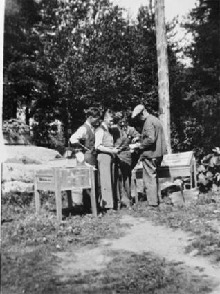 GR: 4 MENN VEIER TOMATER, TIL H:GRESSKARPLANTE, SKJÆRDAL, ÅDALSBRUKMann til v: Anders Larsen forman påKlevfos fra 1913-1945.  Løten.