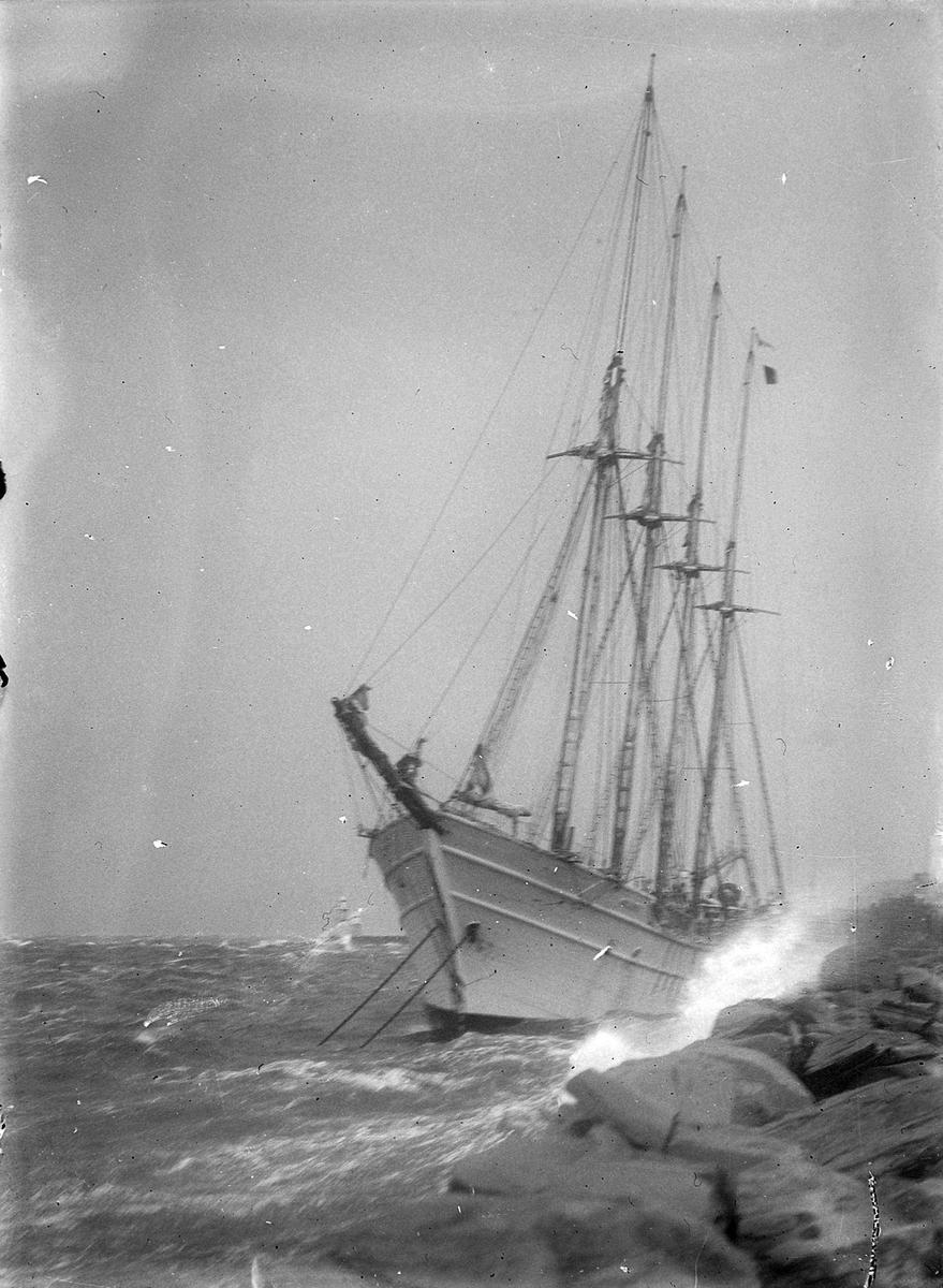Storm på Trondheimsfjorden. Den finske skonnerten Regina slår mot land
