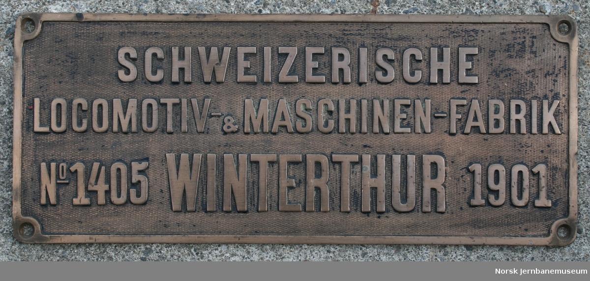 Fabrikkskilt fra Schweizerische Locomotiv- & Maschinen-Fabrik (SLM) : fra NSB damplokomotiv type 26a