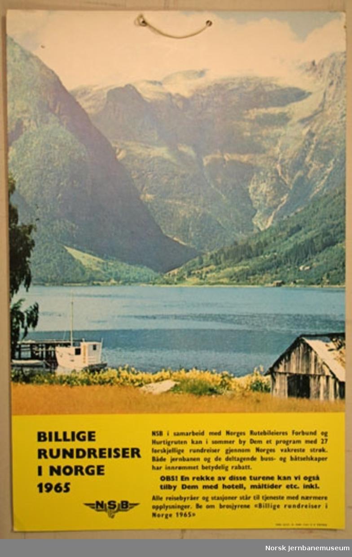 Reklameplakat : Billige rundreiser i Norge 1965