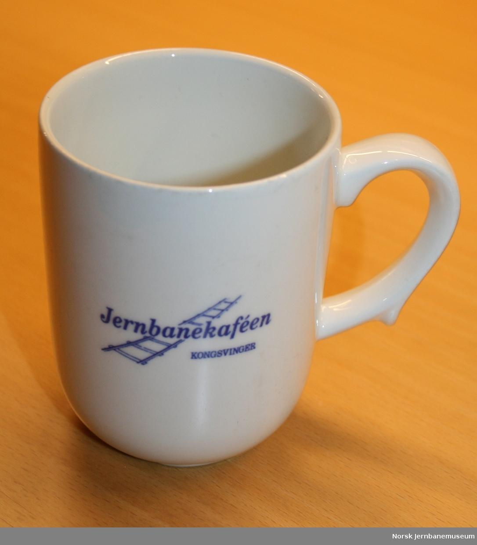 """Med tekst """"Jernbanekaféen Kongsvinger"""""""