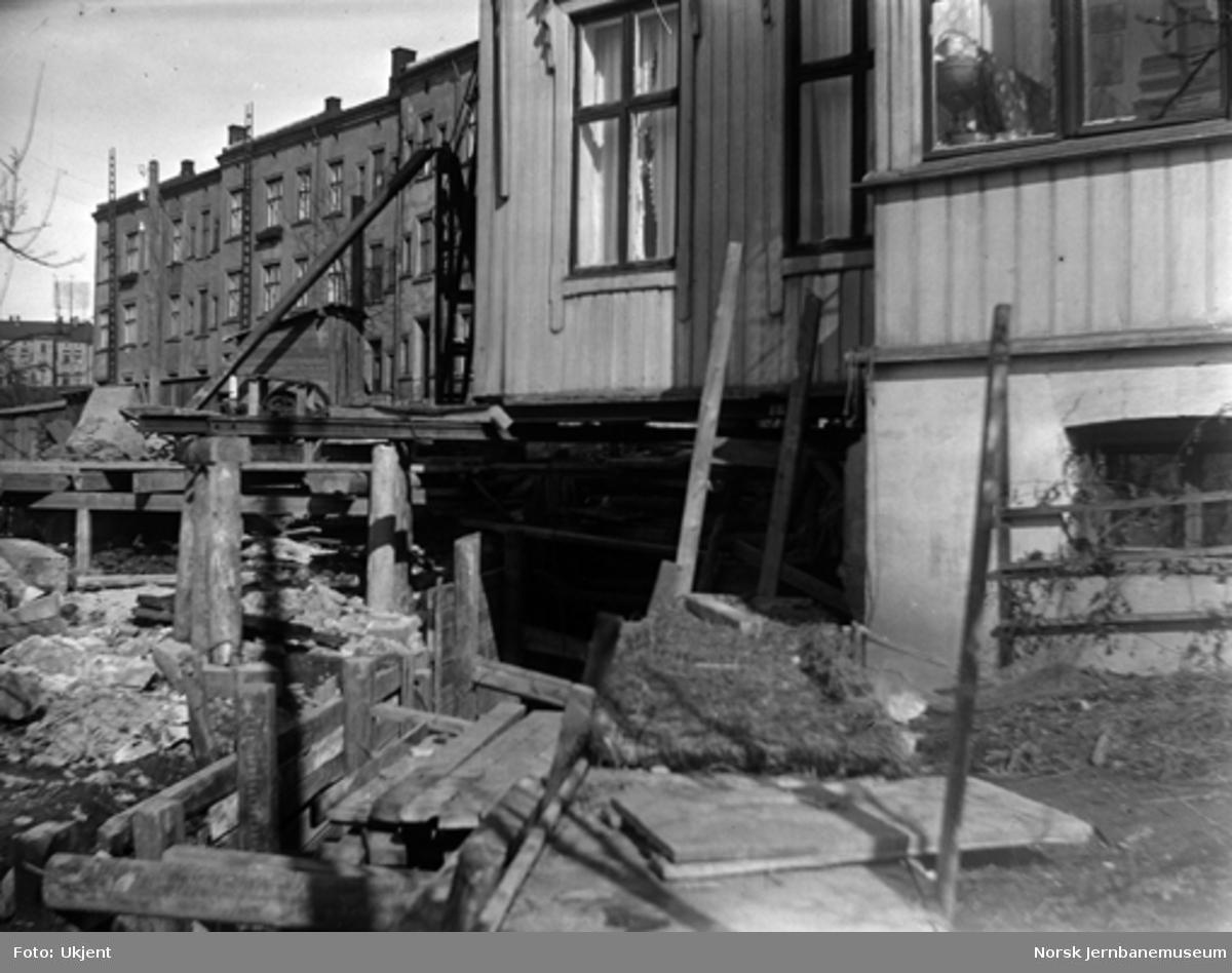 Arbeid med forstøtningsmur under Oslo gate 43B