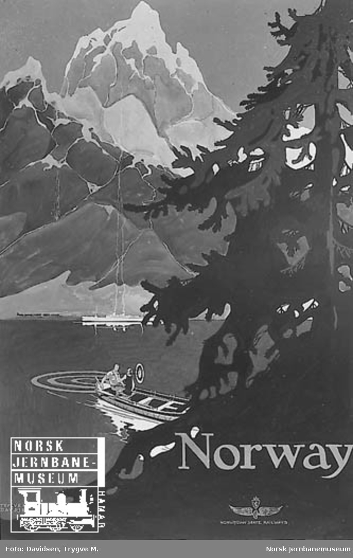 NSB-reiselivsplakat: Norway (med tegning av en vestlandsfjord)