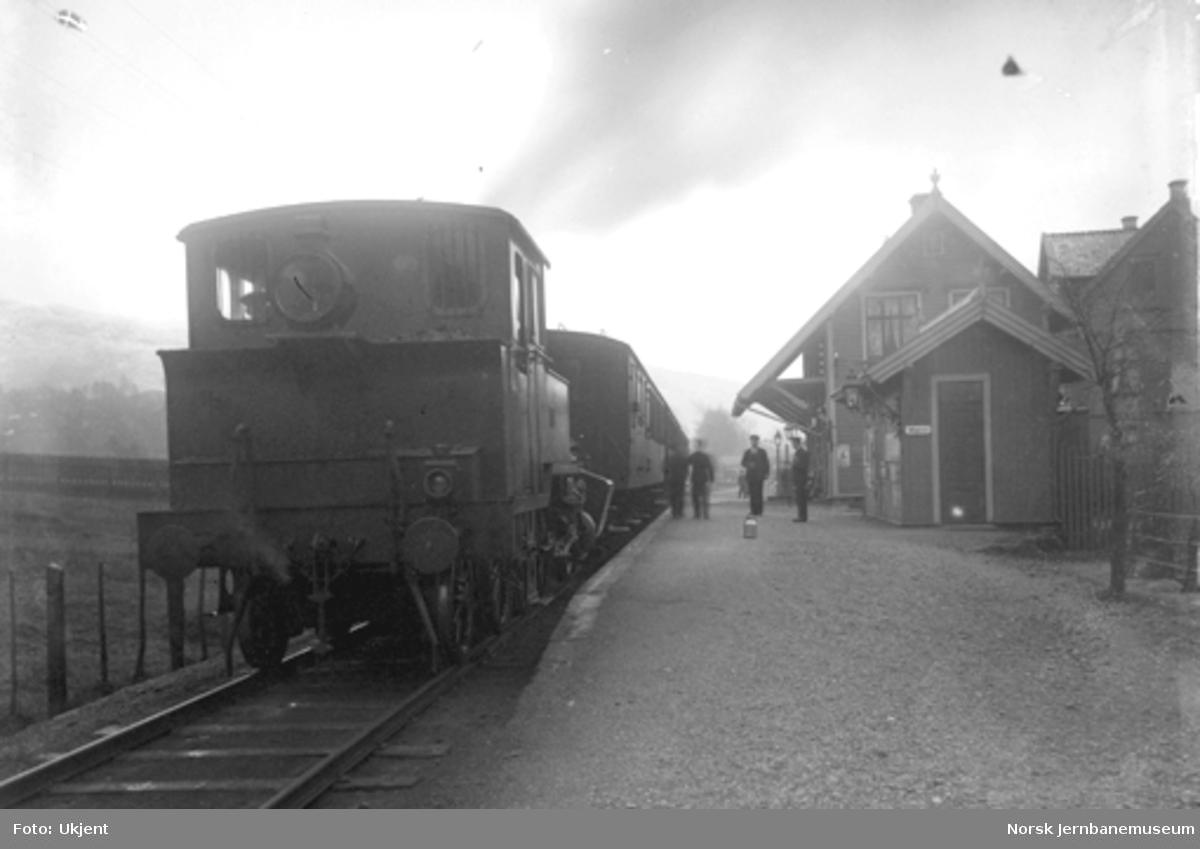 Damplokomotiv type 20a med persontog på Solheimsviken stoppested
