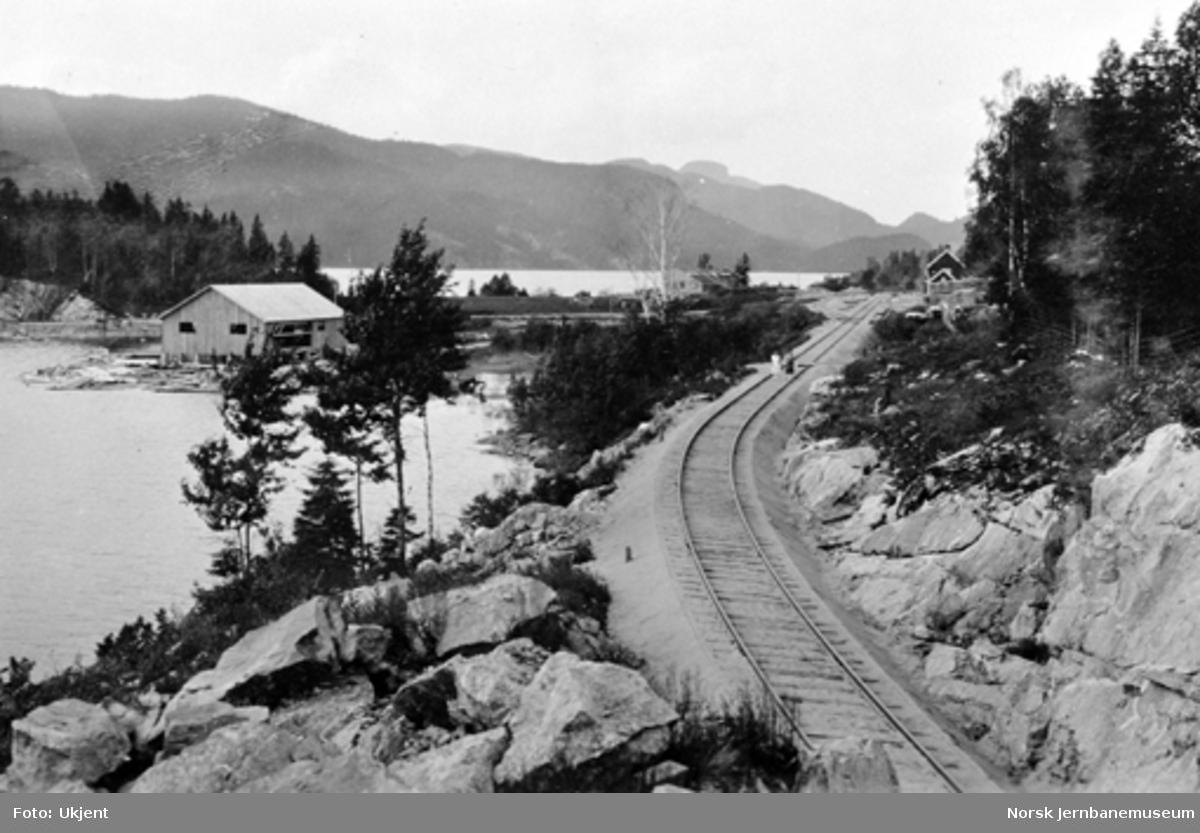 Linjen inn mot Sperillen stasjon, med Båsens sagbruk til venstre
