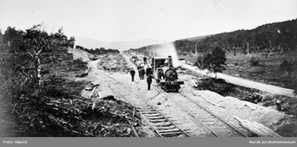Sidesporet til grustaket ved Harborg ved Rørosbanens høyeste punkt, med et lokomotiv av type IV med grusvogner på hovedsporet