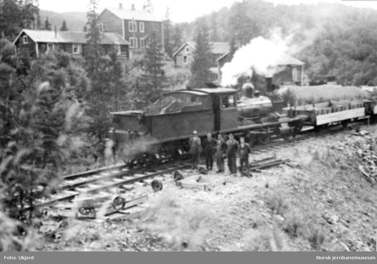 Jernbanepersonale og damplokomotiv type 15f nr. 122 med grustog ved Trolldalen; nordre ende av Medjå tunnel