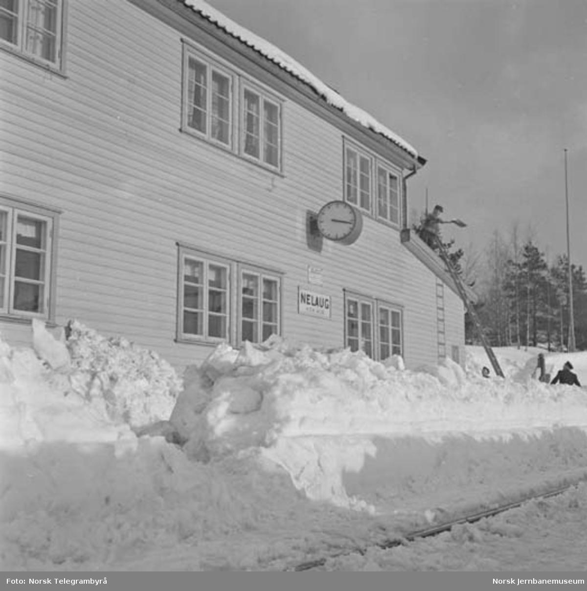 Snørydding på Nelaug og Treungenbanen : nedsnødd Nelaug stasjon