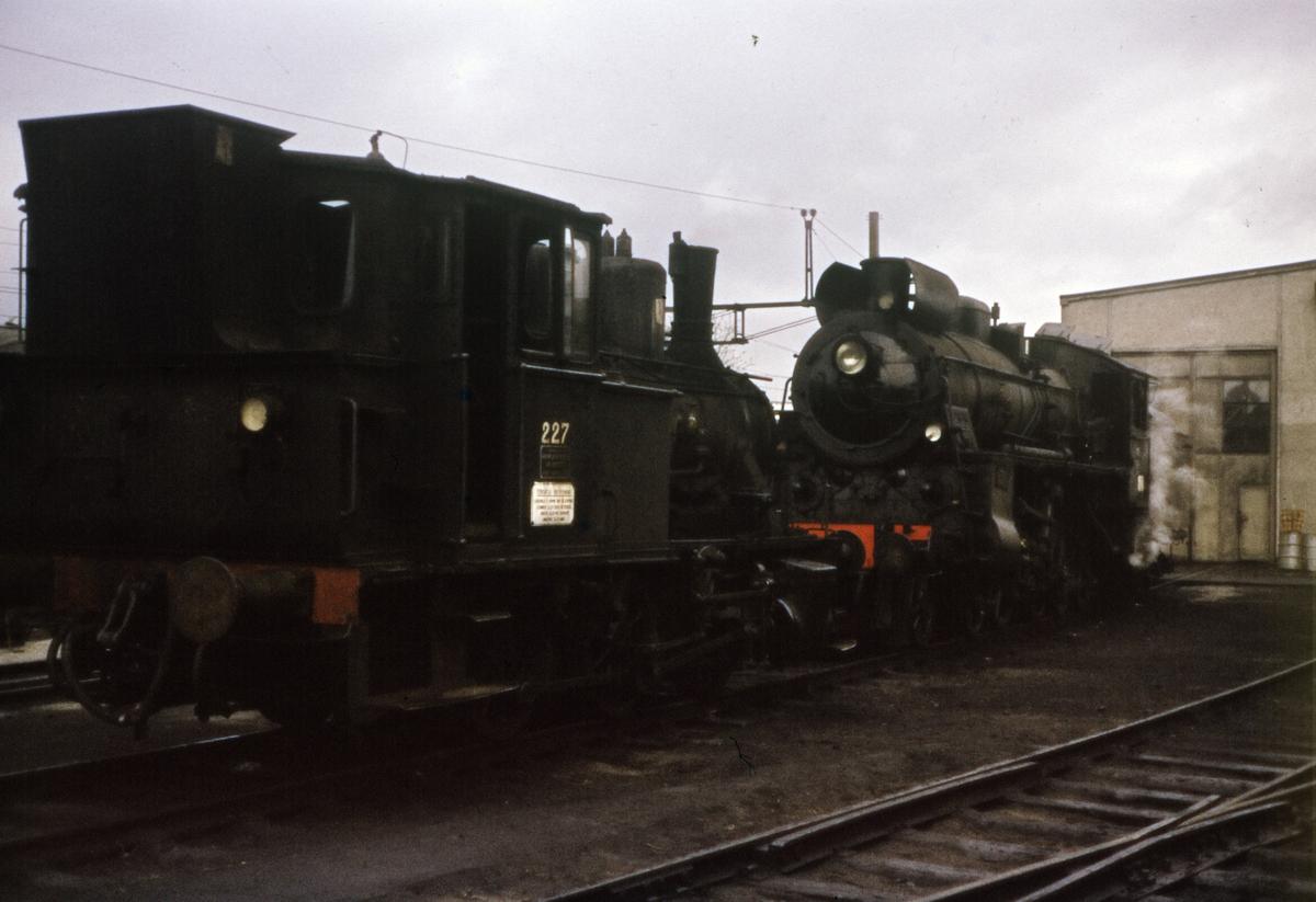 Driftsklare damplokomotiver foran lokomotivstallen på Hamar.