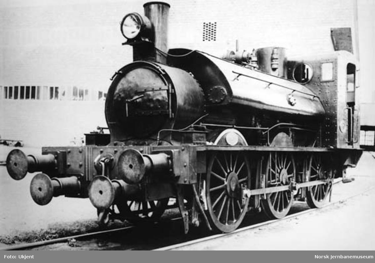 """Borregaards damplokomotiv """"Store svensken"""", tidligere OFWJ nr. 5"""